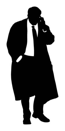 Businessman with mobile phone vector silhouette. Handsome mature man in suite with hand in pocket. Standing pose. Relaxed man. Lawyer on connect with a client. Mature elegant gentleman.