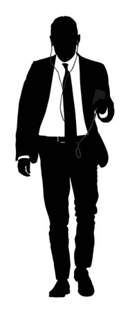 Businessman with mobile phone vector silhouette illustration. Handsome man in suite with smart phone gadget . Walking casual pose. Relaxed man listening to music. Modern lifestyle person anti stress.