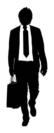 Confident leader standing. Elegant businessman go to work vector silhouette. Handsome senior man in suite with shopping bags. Standing casual pose. Lawyer man walking. Mature yuppie. Secret agent.
