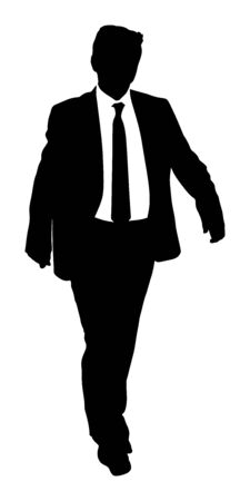 Confident leader standing. Businessman go to work vector silhouette illustration. Handsome man in suite and tie. Standing casual pose. Relaxed man. Yuppie classy boy posing. Bodyguard protect watching. Ilustracja