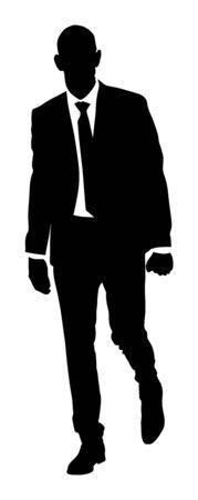Confident leader standing. Businessman go to work vector silhouette illustration. Handsome man in suite and tie. Standing casual pose. Relaxed man. Yuppie classy boy posing. Bodyguard protect watching. Illustration
