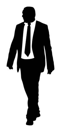 Confident leader standing. Businessman go to work vector silhouette illustration. Handsome man in suite and tie. Standing casual pose. Relaxed man. Yuppie classy boy posing. Bodyguard protect watching. Фото со стока - 129274224