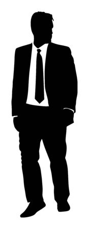 Confident leader standing. Businessman go to work vector silhouette illustration. Handsome man in suite and tie. Standing casual pose. Relaxed man. Yuppie classy boy posing. Bodyguard protect watching. 写真素材 - 129274218