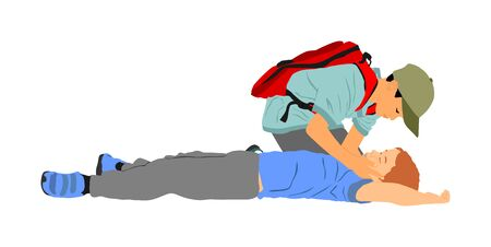 Boy helps friend in unconscious drowning. Car accident victim. Paramedic rescue patient first aid vector illustration. Sneak attack rescue team. Fire victim evacuation. Health care training dead body. Vectores