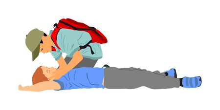 Boy helps friend in unconscious drowning. Car accident victim. Paramedic rescue patient first aid vector illustration. Sneak attack rescue team. Fire victim evacuation. Health care training dead body. Фото со стока - 131943110