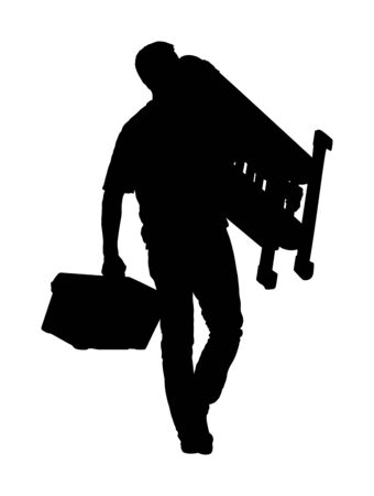 Repairman with ladders in hand vector silhouette isolated on white. Handyman  working on call. Carpenter activity on renovation home for move in. Hard worker job. Painter worker handyman with tool box