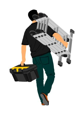 Repairman with ladders in hand vector illustration isolated on white. Handyman  working on call. Carpenter activity on renovation home for move in. Hard worker job. Painter worker handyman with tool box
