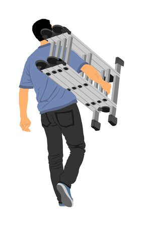 Repairman with ladders in hand vector illustration isolated on white. Handyman  working on call. Carpenter handle activity on renovation home before move in. Hard worker job. Painter worker handyman.