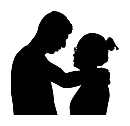 Girlfriend and boyfriend kissing on date vector silhouette. Love concept. Boy and girl hugging vector. Togetherness, tenderness and closeness. Young shy couple in love hug. Teenagers romance, puberty Illustration