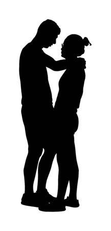 Petite amie et petit ami s'embrassant sur la silhouette vectorielle date. Notion d'amour. Garçon et fille étreignant le vecteur. Ensemble, tendresse et proximité. Jeune couple timide amoureux câlin. Romance d'adolescent, puberté