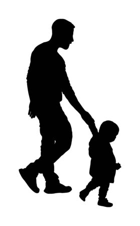 Young father and son holding hands walking on the street vector silhouette illustration. Parent spend time with son. Man and boy in walk. Fathers day. Happy family closeness in public. I love my dad. Stock Illustratie