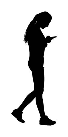 Handsome woman talking on mobile phone vector silhouette isolated on white background. Girl walking with cell smart phone. Active lady urban scene. Selfie by online internet. Wi Fi finding around