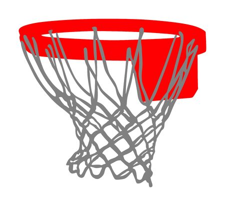 Basketball hoop and net vector illustration isolated on white background. Equipment for basket ball court. Play sport game. Stock Illustratie