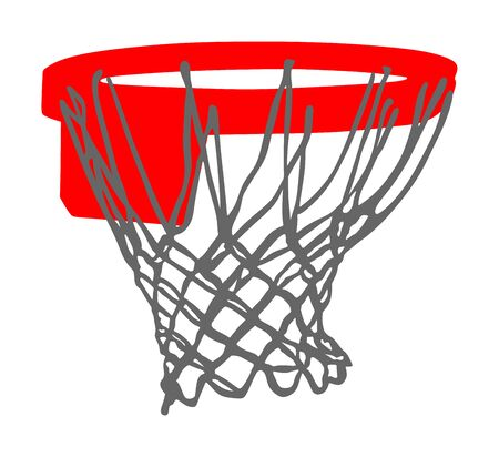 Basketball hoop and net vector illustration isolated on white background. Equipment for basket ball court. Play sport game. Vektorové ilustrace