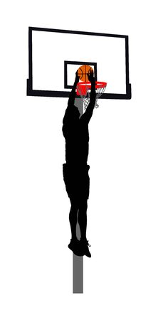Basketball player stunt jumping and dunking silhouette isolated on white background. Basketball player making slam dunk vector illustration. Basketball hoop and board vector silhouette illustration.