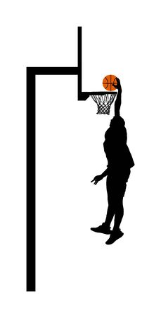 Basketball player stunt jumping and dunking silhouette isolated on white background. Basketball player making slam dunk vector illustration. Basketball hoop and board vector silhouette illustration. Фото со стока - 131188612