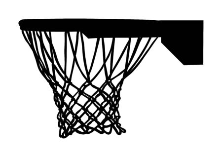 Basketballkorb und Nettovektorschattenbild lokalisiert auf weißem Hintergrund. Ausrüstung für Basketballplatz. Sportspiel spielen.