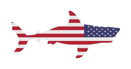 USA flag over Shark vector silhouette isolated on white. Sea predator. Danger on beach alert. Open jaws beast. Fear for divers swimmers. America under water alert for diving swimming. Volusia County. Иллюстрация
