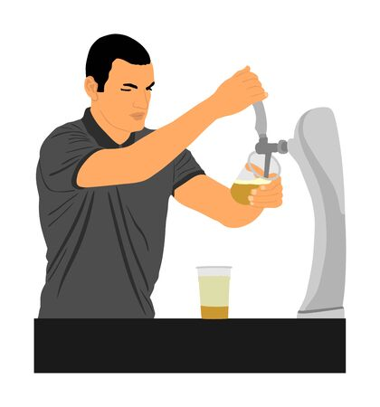 Bartender pouring beer for client vector illustration isolated on white background. Dispensing beer in bar from metal spigots, tapping beer. Waiter man service drink for quests. Party beverage enjoy. Фото со стока - 131943376