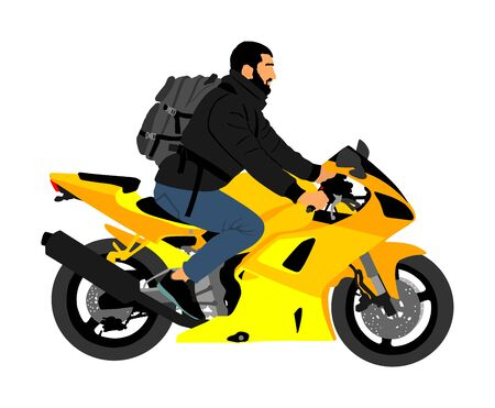 Biker driving a motorcycle rides along the asphalt road vector illustration. Freedom activity. Road travel by bike. Man on motorcycle with backpack. Boy motorbike rider. Freedom independence.