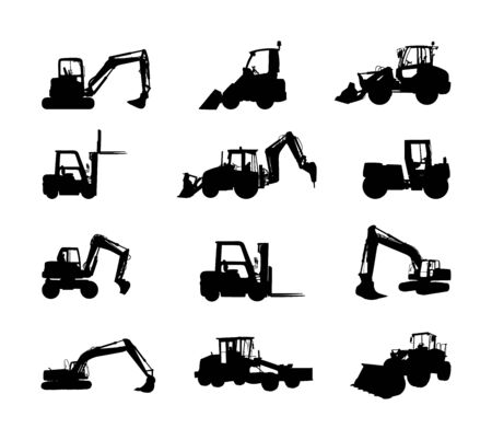 Big set of bulldozer loader vector silhouette isolated on white. Dusty digger, excavator dozer. Under construction. Building machine bager. Motor grader, Forklift cargo car, road roller, asphalt paver Stock Illustratie