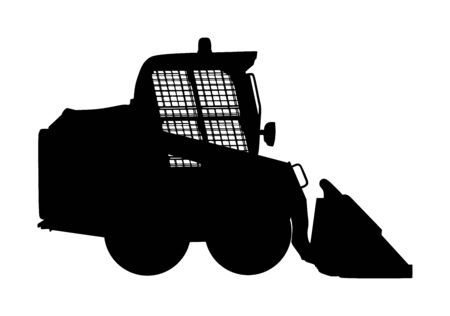 Mini bulldozer, skid loader vector silhouette isolated on white background. Digger. Excavator dozer for land. Under construction. Industrial building machine bager. Motor grader. Hard work industry. Фото со стока - 134477344