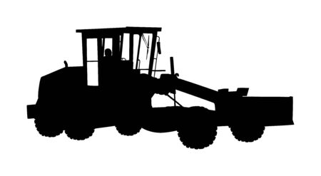 Motor grader. Road grader vector silhouette isolated on white. Earth moving machine. Leveling ground on construction site. Asphalt bulldozer truck. Stock Illustratie