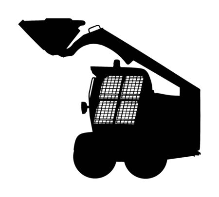 Mini bulldozer, skid loader vector silhouette isolated on white background. Digger. Excavator dozer for land. Under construction. Industrial building machine bager. Motor grader. Hard work industry.