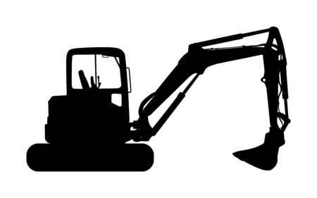 Big bulldozer loader vector silhouette isolated on white background. Dusty digger silhouette illustration. Excavator dozer for land. Under construction. Building machine bager. Motor grader isolated. Stockfoto - 132817886