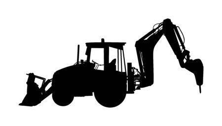 Grande silhouette de vecteur de chargeur de bulldozer isolé sur fond blanc. Illustration de silhouette de pelle poussiéreux. Bulldozer d'excavatrice pour la terre. En construction. Machine de construction bager. Niveleuse isolée.