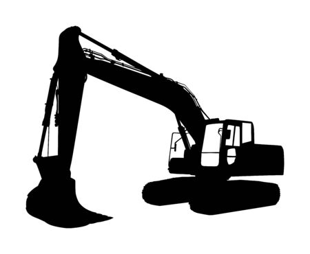 Big bulldozer loader vector silhouette isolated on white background. Dusty digger silhouette illustration. Excavator dozer for land. Under construction. Building machine bager. Motor grader isolated.