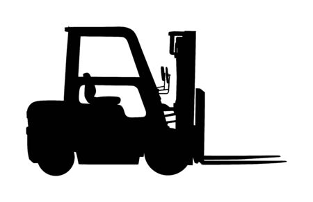 Forklift vector silhouette, heavy loader. Cargo from warehouse to truck. Storage equipment racks, pallets with goods. shipping and transportation concept. Lift truck vehicle for construction site. Stock Illustratie