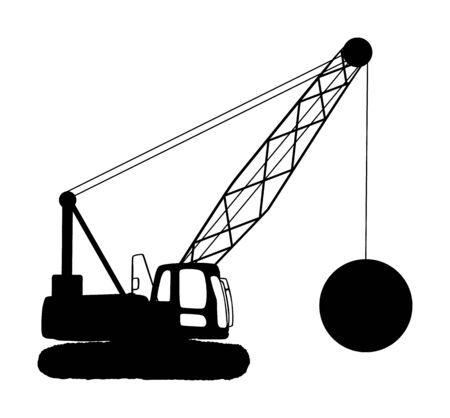 Wrecking ball crane vector silhouette isolated on white. Under construction. Industrial building machine for breaking wall. Demolition crane. Heavy industry equipment. Land clearing concept.