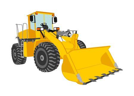 Gros bulldozer, vecteur de chargeuse sur pneus isolé sur blanc. Illustration de pelle poussiéreux. Bulldozer d'excavatrice pour la terre. En construction. Bager machine de construction industrielle. Niveleuse. Industrie du travail acharné.