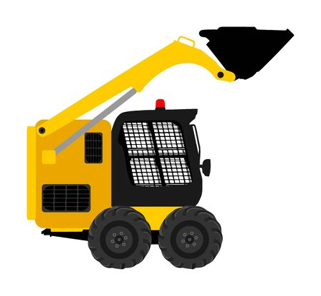 Mini bulldozer, skid loader vector isolated on white background. Digger illustration. Excavator dozer for land. Under construction. Industrial building machine bager. Motor grader. Hard work industry.