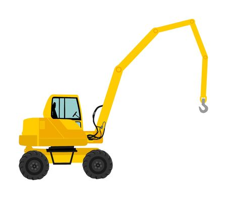 Mobile crane vector isolated on white. Construction site machine illustration. Telescope elevator industrial truck. Heavy industry equipment. Auto crane. Stock Illustratie