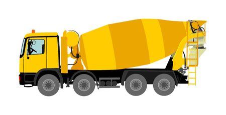 Ilustración de vector de camión hormigonera aislada sobre fondo blanco. Transporte de material industrial. Verter el mezclador de cemento en el sitio de construcción. Construcción de herramienta industrial. Máquina de industria pesada.