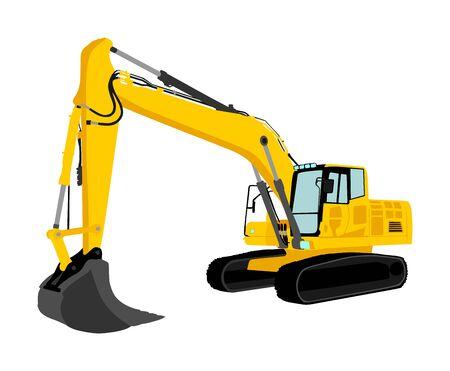 Vector de cargador de excavadora grande aislado sobre fondo blanco. Ilustración de excavadora polvorienta. Topadora excavadora para tierra. Bajo construcción. Máquina de construcción industrial bager. Motoniveladora. Industria del trabajo duro.