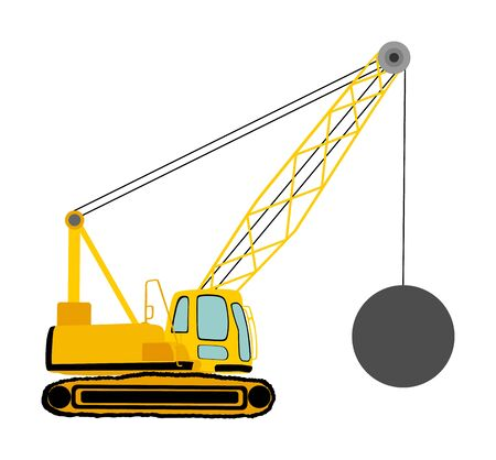 Wrecking ball crane vector illustration isolated on white. Under construction. Industrial building machine for breaking wall. Demolition crane. Heavy industry equipment. Land clearing concept. Stock Illustratie