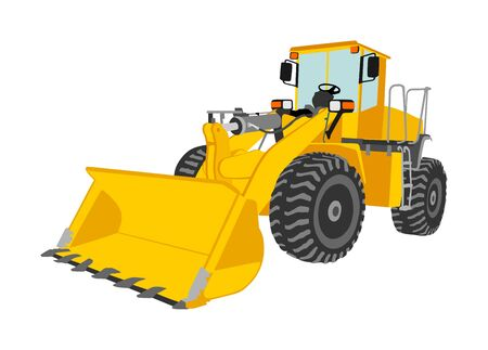 Big bulldozer, wheel loader vector isolated on white. Dusty digger illustration. Excavator dozer for land. Under construction. Industrial building machine bager. Motor grader. Hard work industry. Stock Illustratie