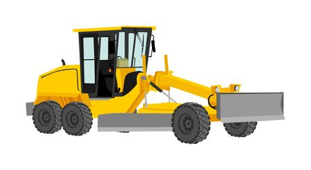 Motor grader. Road grader vector illustration isolated on white. Earth moving machine. Leveling ground on construction site. Asphalt bulldozer truck.
