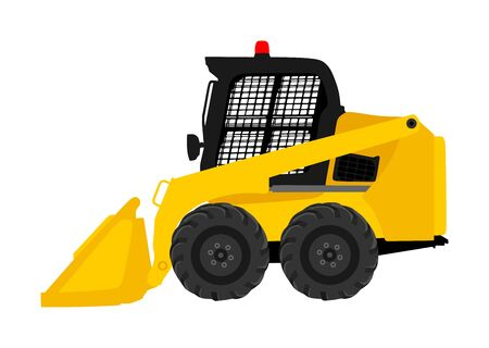 Mini bulldozer, skid loader vector isolated on white background. Digger illustration. Excavator dozer for land. Under construction. Industrial building machine bager. Motor grader. Hard work industry. Фото со стока - 134477403