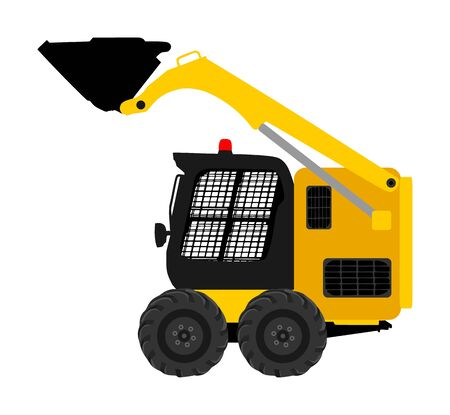 Mini bulldozer, skid loader vector isolated on white background. Digger illustration. Excavator dozer for land. Under construction. Industrial building machine bager. Motor grader. Hard work industry. Фото со стока - 134477410