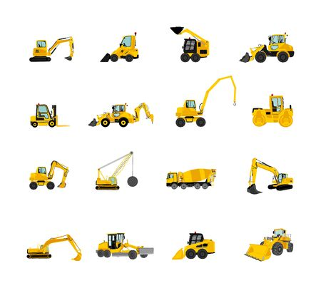 Big set of bulldozer, wheel loader vector isolated on white. Dusty digger, excavator dozer. Under construction. Building machine bager. Motor grader, Forklift cargo car, road roller, asphalt paver