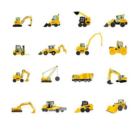 Grand ensemble de bulldozer, vecteur de chargeuse sur pneus isolé sur blanc. Pelle poussiéreuse, bulldozer d'excavatrice. En cours de construction. Machine de construction bager. Niveleuse, chariot élévateur, rouleau compresseur, finisseur d'asphalte