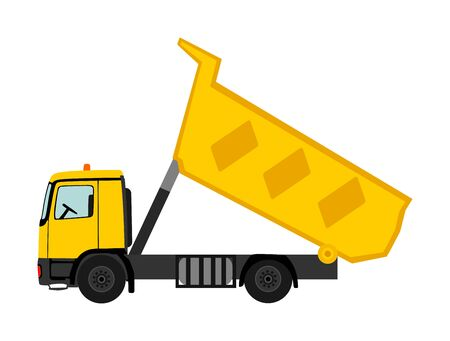 Tipper dump truck vector illustration isolated on white background. Heavy industry vehicle. Truck for moving construction material or garbage. Building construction site equipment.