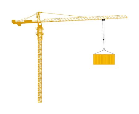 Scale tower crane vector isolated on white. Building machine on construction site. Tower construction crane with container on cable hook. Telescope elevator. Heavy industry equipment cargo shipping