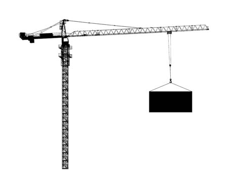 Scale tower crane vector silhouette isolated on white. Building machine on construction site. Tower crane with container on cable hook. Telescope elevator. Heavy industry equipment cargo shipping