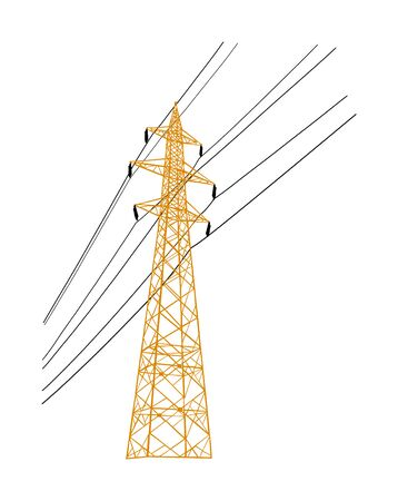 High voltage power line electric transmission tower vector illustration isolated on white. Electricity consumption, production and distribution. Electric tower post pylon with cables.