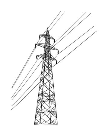 High voltage power line electric transmission tower vector silhouette isolated on white. Electricity consumption, production and distribution. Electric tower post pylon with cables.